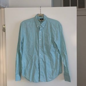 J Crew Cotton Green and White Casual Button Down